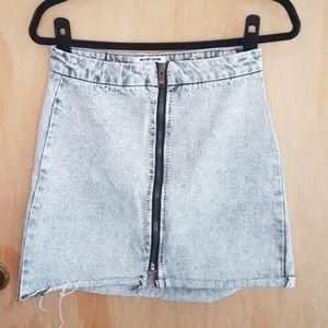 Grey wash denim mini skirt.
